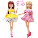 Candice's Sweety 2 Pcs Fashion Dolls, Princess Miniature Doll Toy with Clothes Outfit Set Casual Wear Shoe Girls Gift for Birthday Party Tea Parties and Dollhouse- Style 3