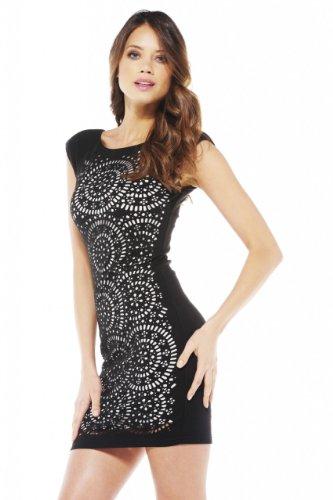 AX Paris Laser Cut Front Bodycon Dress(Black, Size:8) (Laser Ax)