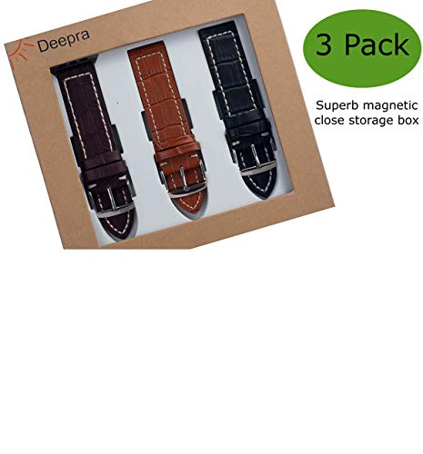 Deepra Croco Edition - Set of 3 Bands Compatible with Apple Watch 1, 2, 3 and 4-42mm / ()