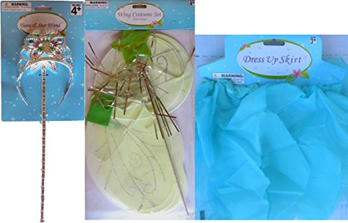 Regent 5 Piece Fairy Princess Set (Aquamarine Pixie Skirt With Green Wings Plus Pink/Green Jeweled Tiara With Star Wand)