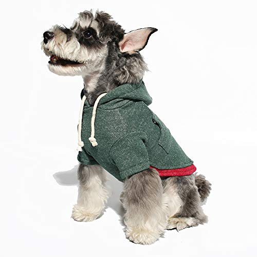 Gyapet Pet Sweater Hoodie for Small Dogs Pet Clothing Puppies Doggie T-Shirt Winter Warm Cotton Cloth for Puppy Green S
