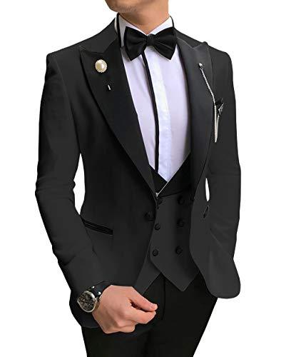 Aesido Casual Men's Suits Slim Fit 3 Piece Notch Lapel Prom Tuxedos Groomsmen for Wedding (Blazer+Vest+Pants)(Black,38US)