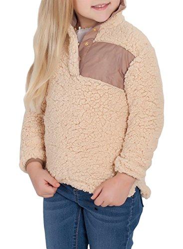 ZESICA Girl's Long Sleeve Stand Buttons Collar Pebble Pile Fleece Sherpa Sweatshirts Pullover ()
