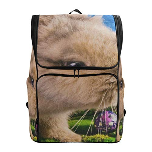 Laptop Backpack Cute Easter Bunny Egg Blue SkySprot Backpack for Men Large Boxy -