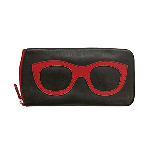 Women's Leather Eyeglasses Case - Zipper Close - 7'' x 4'' - Black with Red