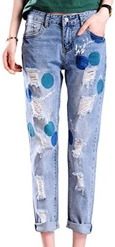 Chickle Women's Loose Fit Dot Ripped Skinny Destroy Denim Jeans US 16 Blue