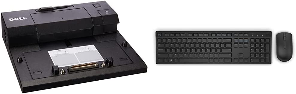 Dell E-Port Replicator 3.0 with 130W Power Adapter E Series Latitudes (PRO3X) & Dell KM636 Wireless Keyboard & Mouse Combo (5WH32), Black