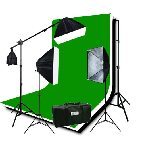 ePhoto H9004SB-69BWG Photography Studio Video Lighting Chromakey Screen 3 Muslin Backdrops Lighting Kit Background Support Kit-Green/Black/White by ePhoto