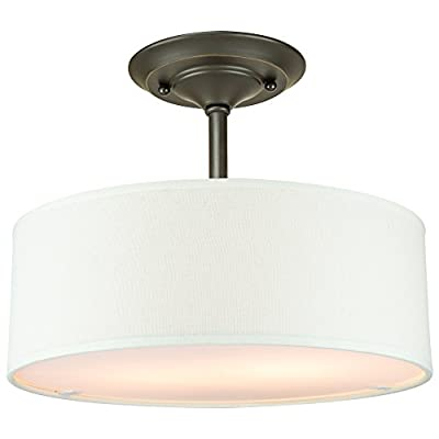 "Addison CSF30 2-Light 13"" Contemporary Semi-Flush Mount Ceiling Light Fixture w/ White Fabric Shade"