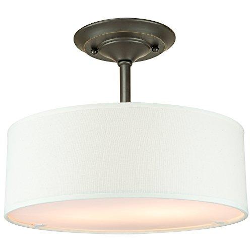 Addison Csf30 2 Light 13 Contemporary Semi Flush Mount Ceiling Light Fixture W White Fabric