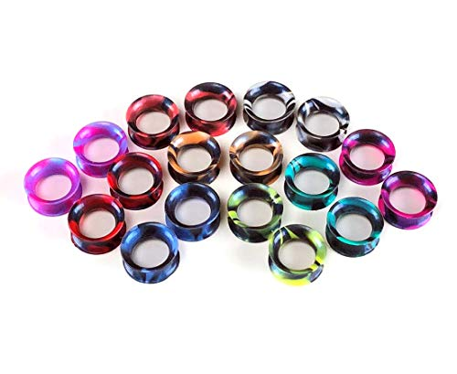 Mystic Metals Body Jewelry Set of 9 Pairs Pearlescent Swirl Silicone Tunnels - Plugs gauges (9/16
