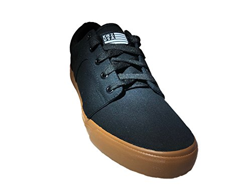 KIKZ USA Mens Casual Athletic Skate Shoe, Rhodez Model, Black Gums with Extra Foam Insole. (11) - Mens Canvas Low Skate Shoe