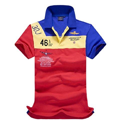 メンズ ポロシャツ 半袖 Tシャツカジュアル 紳士スポーツゴルフ シャツ ゆったり リラックス 着やすい 部屋着 吸汗速乾 夏 (赤/ブルー, L)