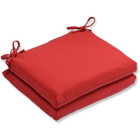 Pillow Perfect Outdoor Indoor Tweed Squa Corners Seat Cushion Set Of 2 Red