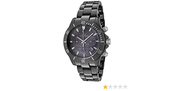 Amazon.com: ToyWatch Womens Mavi Ceramic Black Mother Of Pearl Dial Chronograph Black Ceramic: Watches