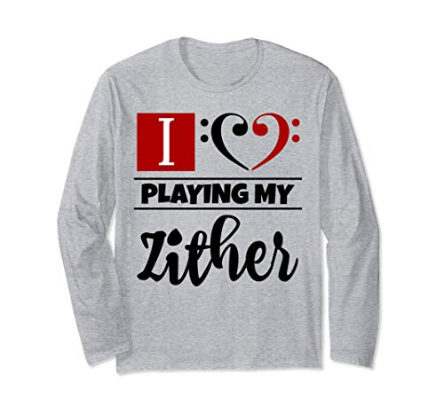 Double Black Red Bass Clef Heart I Love Playing My Zither Long-Sleeve T-Shirt