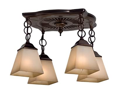 Hunter 80708 Montesino 70 CFM 4-Light Bathroom Fan, Bronze Patina with Amber Beach Sand Glass Shades