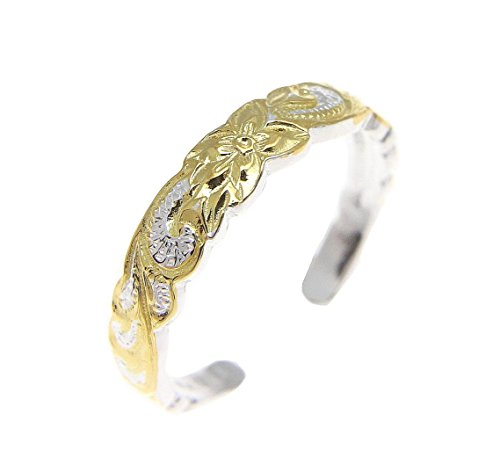 2 tone yellow gold plated Hawaiian plumeria flower scroll 4mm cut out open toe ring (Two Tone Toe Ring)
