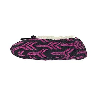 Nicole Miller Plush Slipper Socks with Non-Skid Bottom -Pink Medium