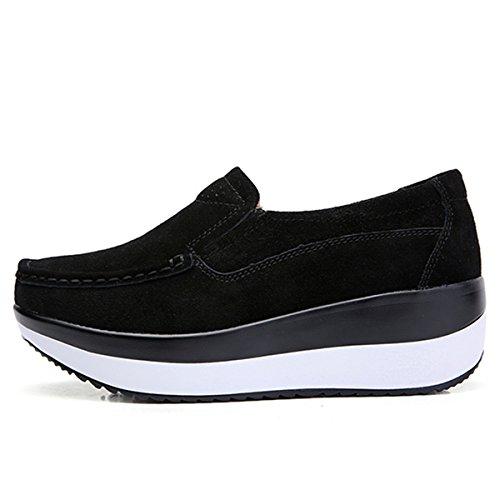 Nero Comodo Piattaforma Cuneo Da Scamosciato Comode Tacco Loafers Gracosy Con Pelle In Guida Scarpe Sneaker Zeppa Nascosto Donna Casual Moda Mocassini 5nq0R