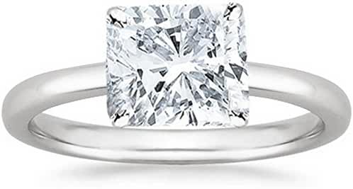 18K White Gold Cushion Cut Solitaire Diamond Engagement Ring (1 Carat H-I Color SI2 Clarity)