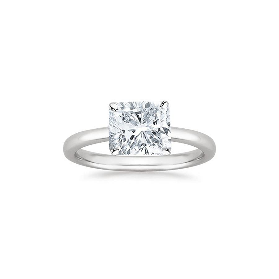 14K White Gold Cushion Cut Solitaire Diamond Engagement Ring (1 Carat G H Color SI1 SI2 Clarity)