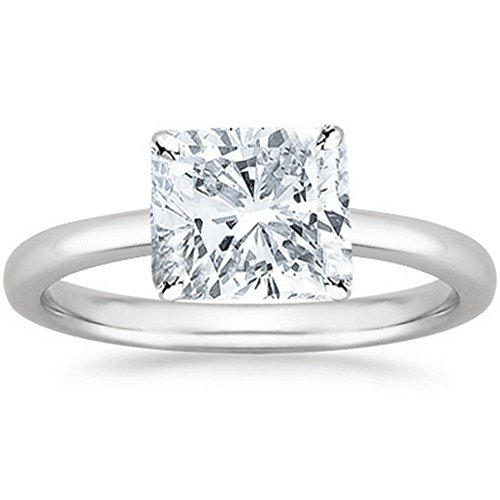 14K White Gold Cushion Cut Solitaire Diamond Engagement Ring (1 Carat I-J Color SI2-I1 Clarity)