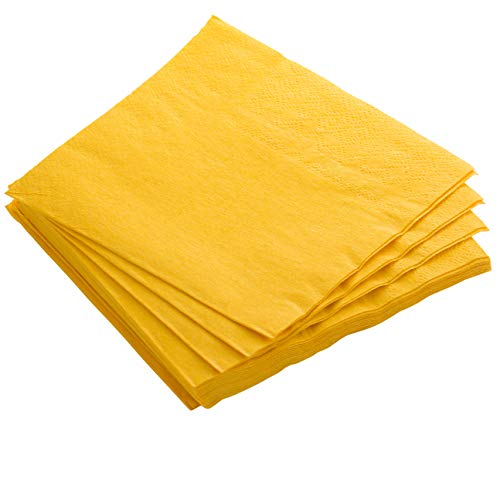 Exquisite 50 Pack of Luncheon Paper Napkins The 2 Ply Party Napkins are Highly Absorbent and Available in a Wide Range of Vibrant Colors - Yellow Napkins