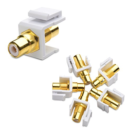 Cable Matters (5-Pack) Gold-Plated RCA Keystone Jack Inserts in White