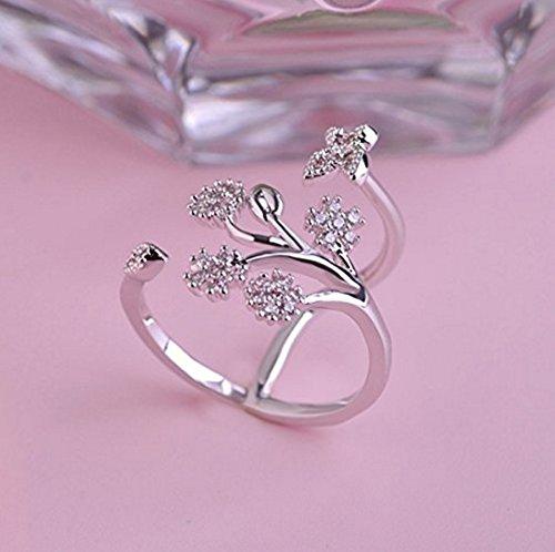Rurah Cute Butterfly Flower Open Ring for Women Adjustable Size,Silver