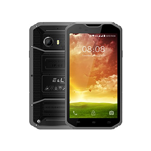E&L W8 Rugged Smartphone Unlocked with IP68 Wateproof 4G LTE Cell Phone 5.5 inch Android 6.0 Dustproof Camera 8.0MP Unlocked Military Grade Mobile Phone AT&T And T-Mobile Verizon (GRAY)