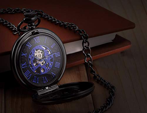 LYMFHCH Steampunk Blue Hands Scale Mechanical Skeleton Pocket Watch with Chain As Xmas Fathers Day Gift by LYMFHCH (Image #4)