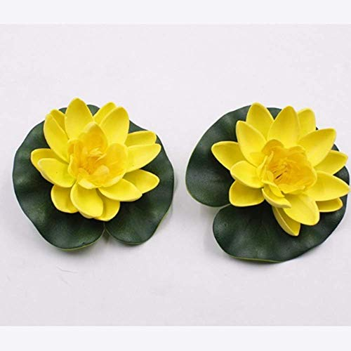 1Pcs Artificial Lotus Water Lily Floating Flower Pond Tank Plant Ornament 10cm Home Garden Pond Decoration (Yellow) - Candle Bowl Fountain
