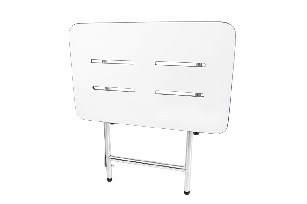 CSI Bathware SEA-SD2618-NH-PHSLO Folding, Wall-Mounted and Rectangular ADA Bathroom Shower Bath Seat, 26 x 18'', White/Stainless Steel