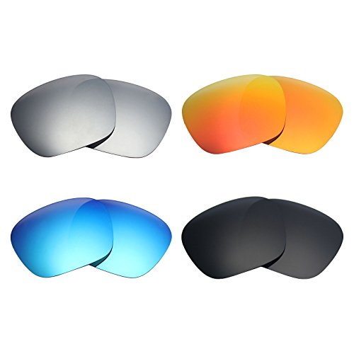 Mryok 4 Pair Polarized Replacement Lenses for Spy Optic Discord Sunglass - Stealth Black/Fire Red/Ice Blue/Silver - Discord Spy