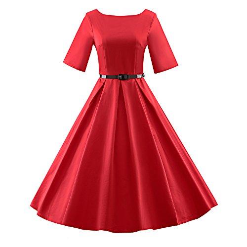 Audrey Da Del Estate Bfy Delle 50s Vestito Rosso Colore Dell'annata Solido Hepburn '60 Di Mezzo Donne Manicotto XOqvxT