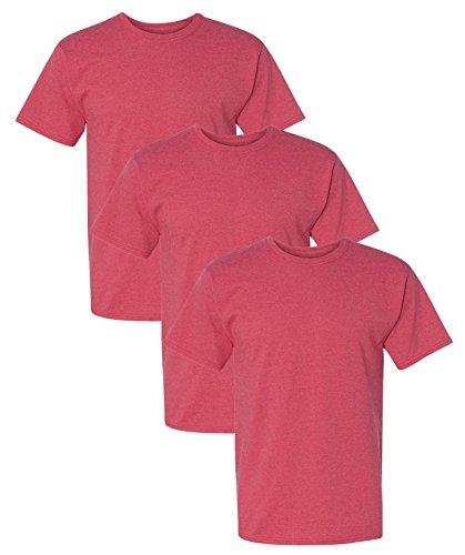 Hanes Men's 3 Pack Comfortblend Short Sleeve T-Shirt, S, Heather Red ()