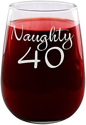 Sandblast Creations - Copa de vino grabada de Naughty 40 ...