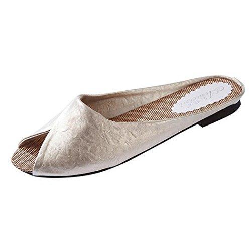 Roman Flat Sandals (AMA(TM) Women Summer Peep-toe Flat Roman Sandals Loafers Slippers Shoes (9.5, Beige))