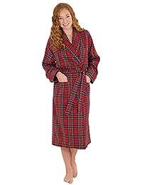 PajamaGram Women's Stewart Plaid Cotton Flannel Robe, Red