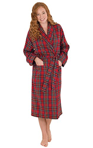 PajamaGram Cotton Flannel Robe Womens - Classic Plaid Flannel Robes Women