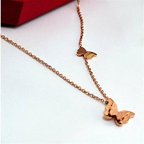 (P.phoebus 18K Rose Gold Butterfly Necklace Choker Statement Bib White Swarovski Crystal Rhinestone Charms Pendant for Women Girls (11))