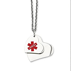 Stainless Steel Double Heart Medical Pendant Necklace 18'' inches length