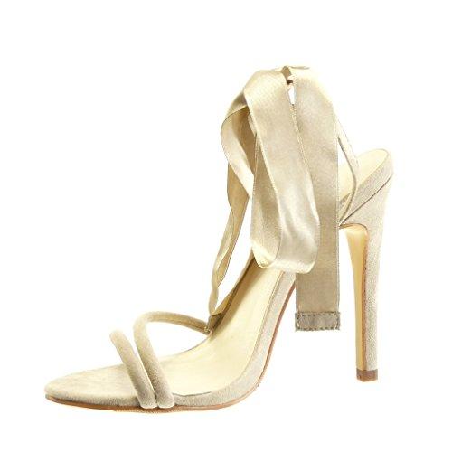 Angkorly - Scarpe da Moda scarpe decollete sandali stiletto sexy elegante donna nodo Tacco Stiletto tacco alto 11 CM - Beige