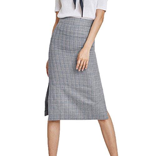 Taille Haute pour Femmes sans lasticit Coupe Ajuste Jupe Jupe Crayon  Ourlet Fendu Grey