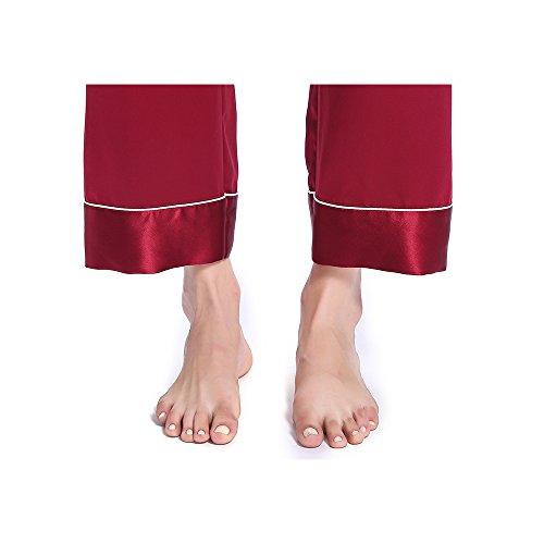 Lilysilk Pantalones De Seda Natural De 22 Momme Con Guarnición Chic Rojo Vino