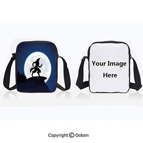 Multipurpose Crossbody Bag For Sports Unisex Teen Full Moon Night Sky Growling Werewolf Mythical Creature in Woods Halloween Dark Blue Black White Anti-Theft Travel Hiking Polyester Water Proof Bag
