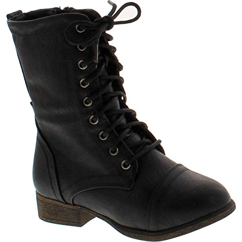 Link Beyonce-62K Children Girl's Comfort Lace Up Mid Calf Combat Boots,Black,11 (Combat Child Boots)