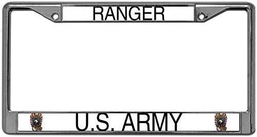 TAG FRAMES Chrome Metal US Army Ranger License Plate Frame MILITARY