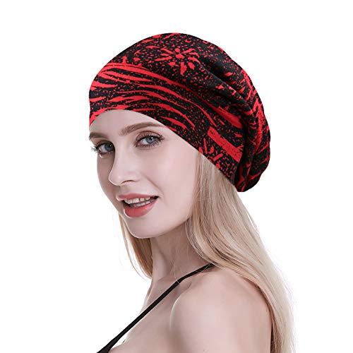 Print Rayon Satin Lined Headwear Slouchy Sleep Beanie -